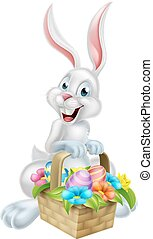 White Egg Hunt Easter Bunny - A white cartoon Easter bunny...