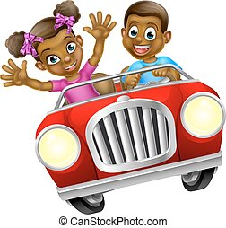 Cartoon Man and Woman Driving Car - Cartoon boy and girl...