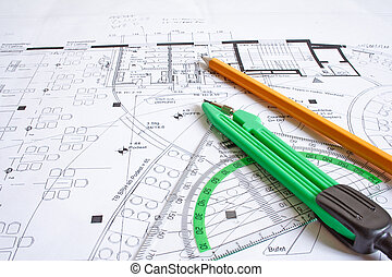 Draftsmans Utensils - A construction plan and typical...