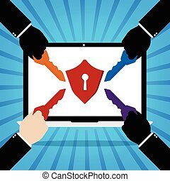 Computer laptop with red protection key lock and human hands with multiple keys for unlock the protection on blue sun ray background. Flat design of cyber security technology concept design.