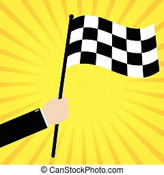 Businessman hold a Race finish flag on yellow sunrays background. Vector illustration business success concept design.