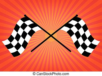 Two finish checker flags crossed on orange sunrays background. Vector illustration victory concept design.