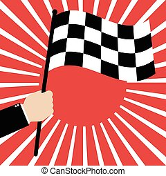 Businessman hold a Race finish flag on red sunrays background. Vector illustration business success concept design.