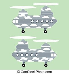 White texture Military Helicopter Chinook on green...