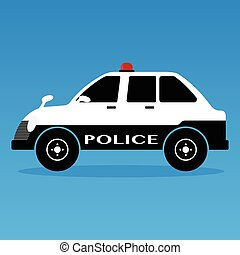 Police cars classic style with siren black and white colors on yellows background . Vector illustration flat design.