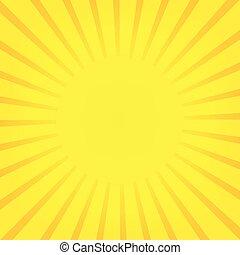 Sun rays, yellow sunburst on orange background. Vector illustration design.