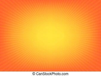 Yellow sun rays, sunburst on orange color background. Vector illustration background design.
