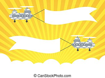 Military Helicopter Chinook with banners for text banners on...