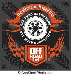 Off-road - grunge emblem and design elements
