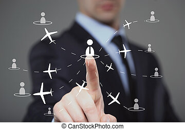 businessman clicks on the icon employee travel technology...