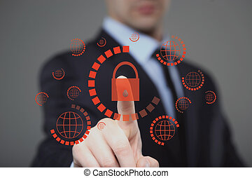 businessman pressing cyber security button on virtual...