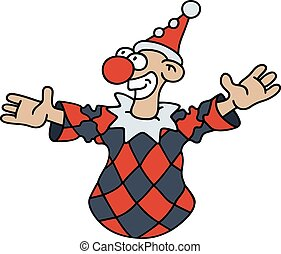 Funny black and red goof - Hand drawing of a funny harlequin