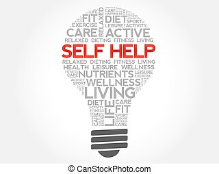 Self Help bulb word cloud, health concept