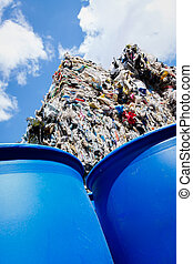 Plastic Waste Recycling - Stock Image - Pile of waste for...