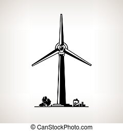 Silhouette Wind Turbine on a Light Background, Horizontal...