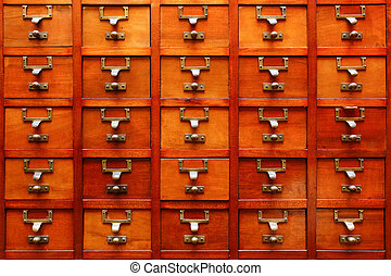 Old organizer - Stock Image - Old Vintage wood drawer...