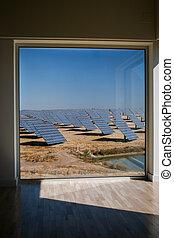 Sun Energy Farm - Stock Image - Modern sun energy farm solar...