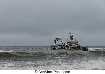 Shipwreck at the Skelleton Coast Namibia during a stormy day...