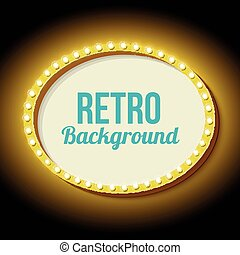 Retro frame circle with neon lights - Vintage frame with...