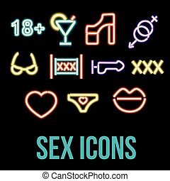 Erotic xxx Icons - Set neon sex icons Erotic symbol - xxx,...