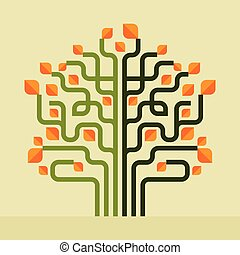 Spring flower love tree. Vector