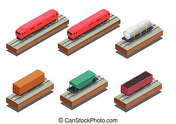 Vector isometric illustration of Diesel Locomotive, Rail covered wagon, Open rail car for transportation of bulk cargoes. Vector illustration.