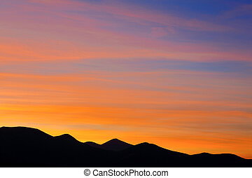 Colorful sunset in the Carpathian mountains