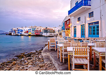 Beautiful sunrise at Little Venice on Mykonos island, Greece...