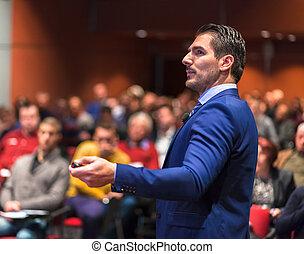 público, orador, Dar, charla, en, empresa / negocio, Event.,...