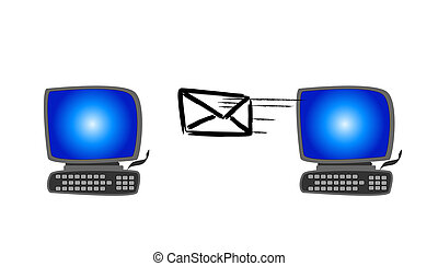 Electronic Mail - An illustration of an envelope flying...