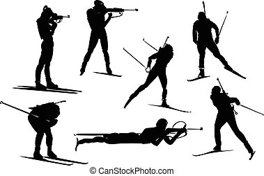 vector biathlon set - Isolated black set of biathlon...