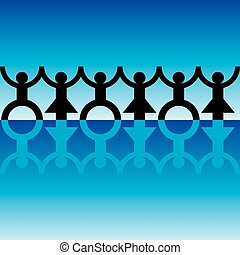 String of paper chain men in black and blue ideal border...