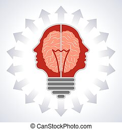 Concept of brain with bulbs as solutions to problems Concept...