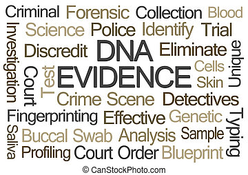 DNA Evidence Word Cloud on White Background