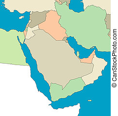 Map Of The Middle East - An outlined map of the Middle East....