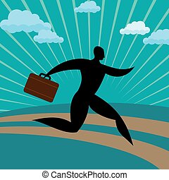 silhouette businessman run away against blue background