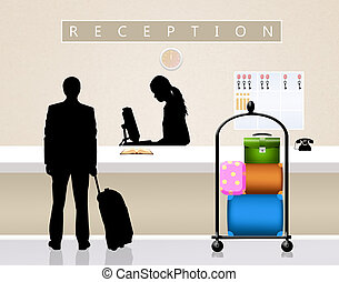 receptionist in hotel - illustration of receptionist in...