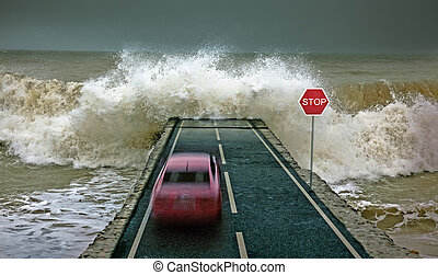 car vs wave - car rushing along the highway towards the...