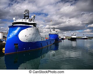 Onshore Supply Base A - Onshore oil industry supply vessel...