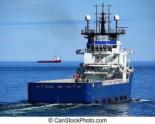 Offshore Supply Ship Stern - Offshore Supply Vessel underway...