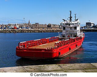 Offshore Suppy Ship Deck - Offshore Supply Vessel in port...