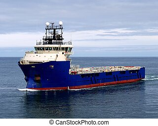 Offshore Supply Ship J - Offshore Supply Vessel underway at...