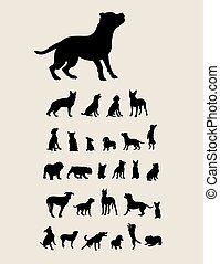 Dog Set Silhouettes, art vector design