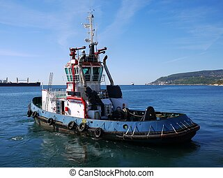 Tugboat in Bay - Harbor Tug off to towage operation in port