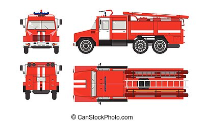 Fire engine car - Set stock vector illustration isolated red...