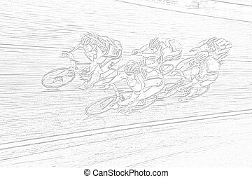 Final Spurt - A drawing of a professional bikerider peloton...