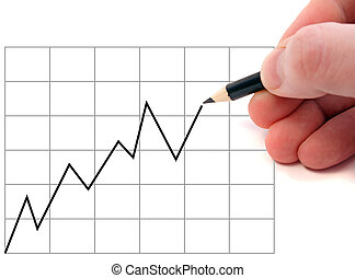 Drawing A Chart - A human hand drawing a positive chart. All...