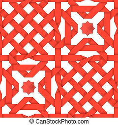 Red interwoven ribbons Seamless pattern - Red interwoven...