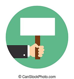 Hand holding sign. Editable EPS vector format