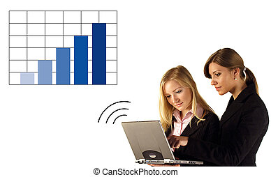 Annual balance report - Two businesswomen reviewing...